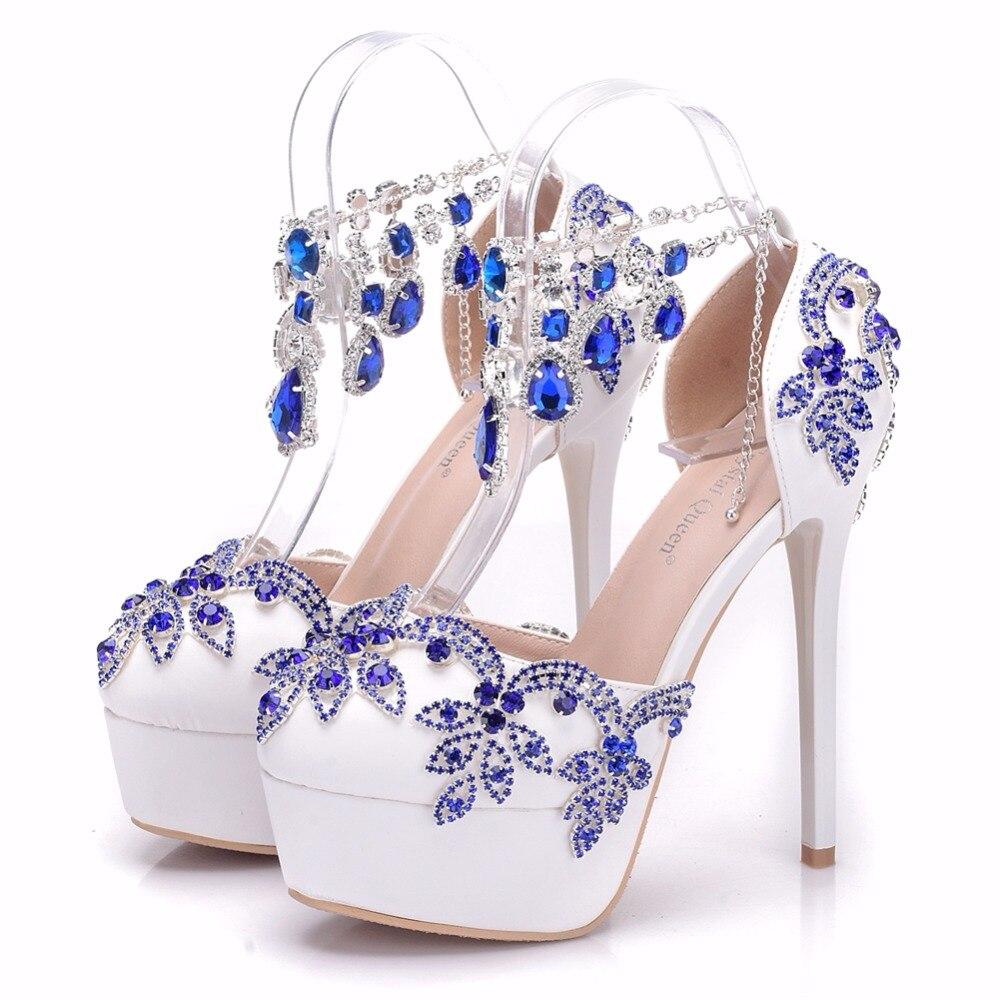 Blue Bracelet Formelle Cm Reine Talon Haute 14 Mariage Ultra Robe Bleu Strass Banquet Sandales De Gland Chaussures Cristal wPqTFOxaO