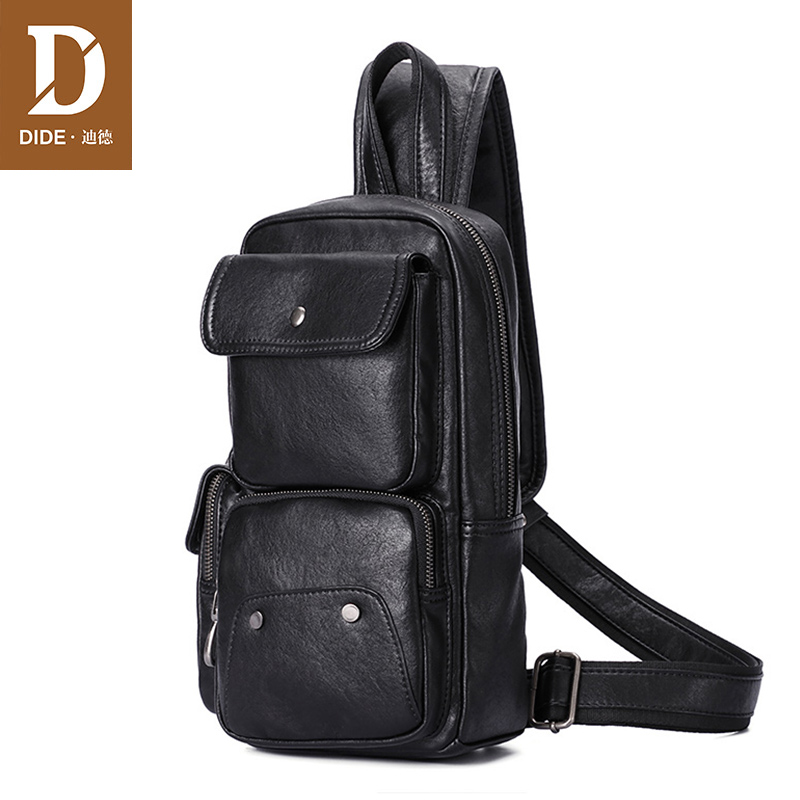 DIDE 2018 Brand Messenger Crossbody Bag Men Black Chest Bag Waterproof PU Leather Shoulder back pack for Teenager Male стоимость