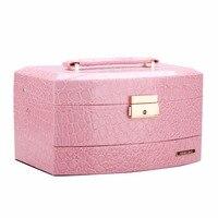 Nova Marca Caixa de Jóias Rosa Mulheres Meninas de Presente Caixa De Armazenamento De Brincos Colares de Couro Com Caso do Curso Pequeno Organizador De Veludo 173