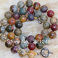 "Natural 10mm multicolor beautiful picasso jasper hot stone round beads diy Necklace 18"" GE1149"