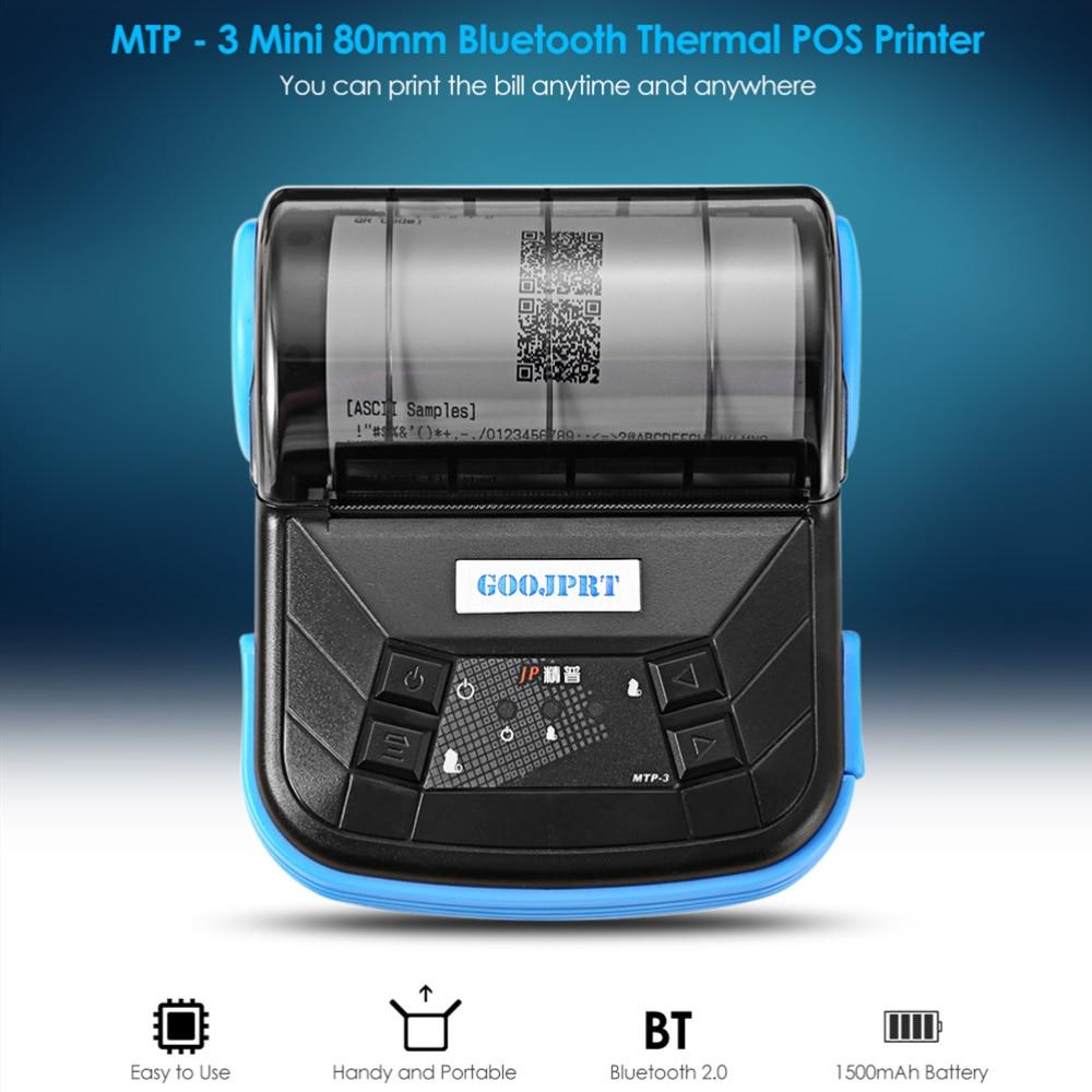 GOOJPRT MTP-3 Portable 80mm Bluetooth Thermal Printer Exquisite Lightweight Design Support Android POS Multi-language EU/US PlugGOOJPRT MTP-3 Portable 80mm Bluetooth Thermal Printer Exquisite Lightweight Design Support Android POS Multi-language EU/US Plug