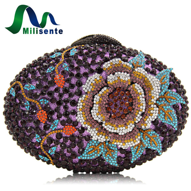Milisente Women Crystal Clutch Evening Bags Peony Flower Oval Shaped Wedding Party Purses For Blue Dark Purple