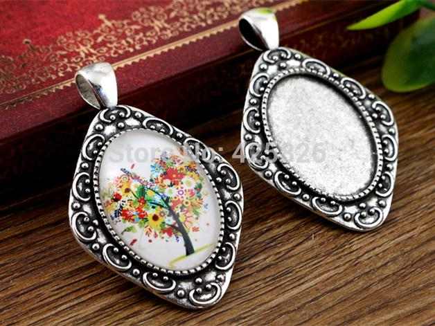 4pcs 18x25mm Inner Size Antique Silver Flowers Style Cameo Cabochon Base Setting Charms Pendant Necklace Findings  (C2-42)