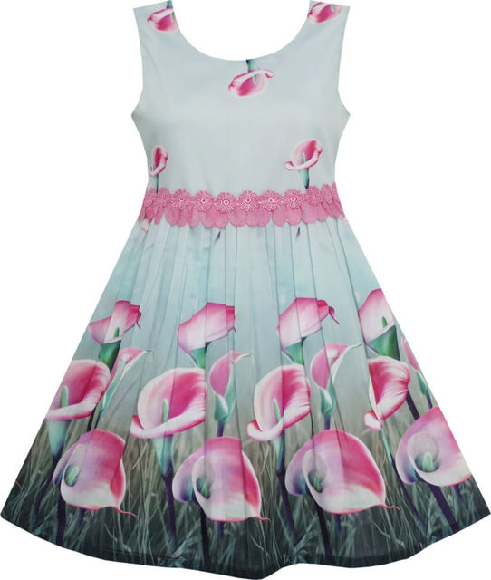 Sunny Fashion Vestidos niña Rosa cala Lirio Flor Jardín Impresión Encaje Cintura