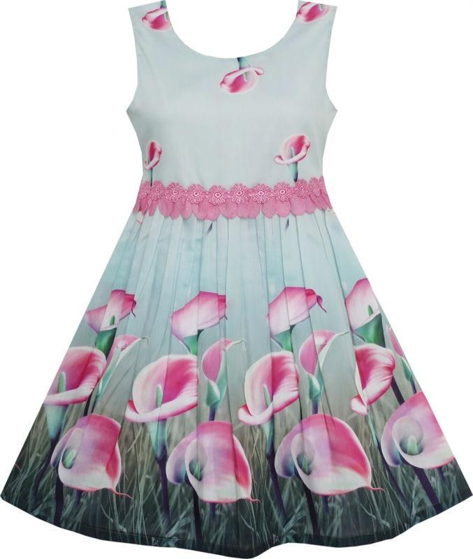 Sunny Fashion girls dress kids girl clothes 2017 summer princess flower cotton dresses Pink Calla Lily Garden  Lace Waist 4-12