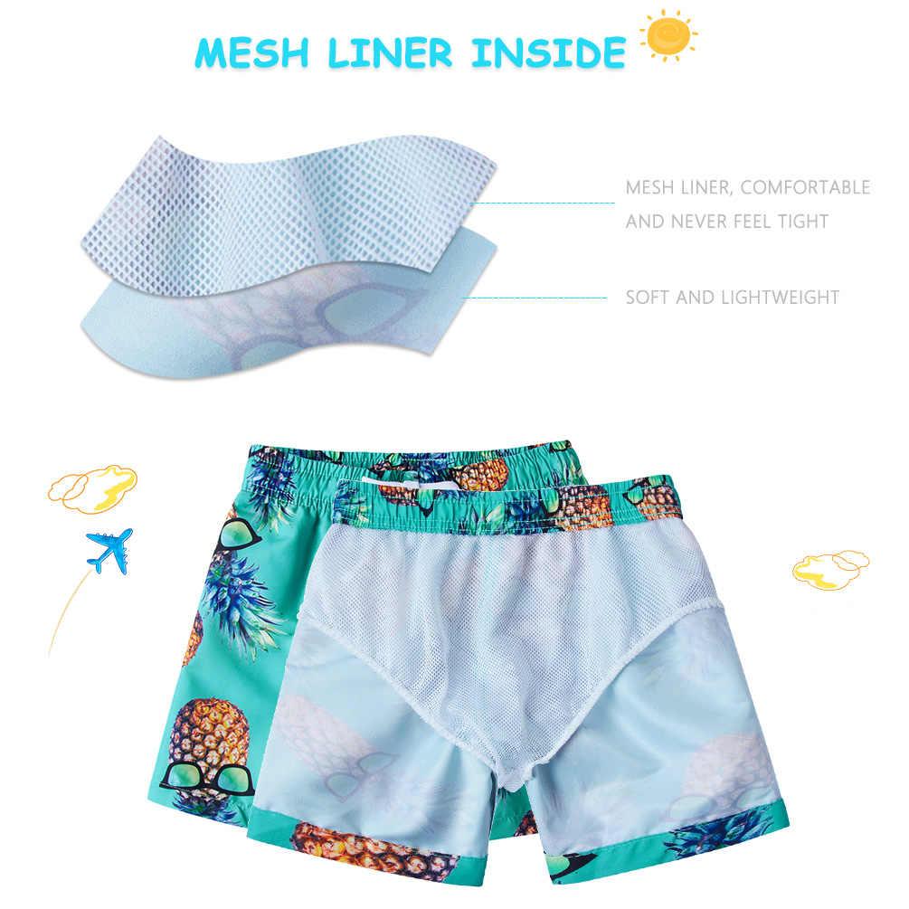 2019 3D Pineapple Boys Shorts Quick Dry Beach Board Shorts Hawaiian Kids Swim Trunks Swimsuit Beachwear Shorts Mesh Liner 3-11Y