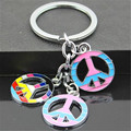 FD4221 new Colorful Peaceful Sign Pendant Key Ring Key Chain Keychain String Gift