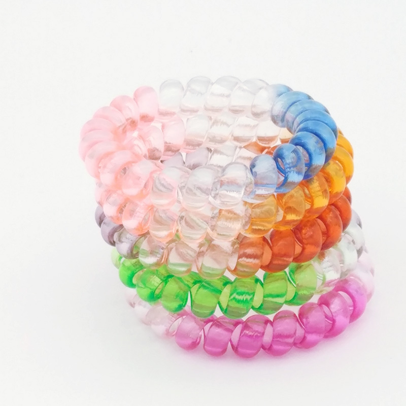 Wholesale 5 pcs/lot 5cm Rainbow Hair Accessories Telephone Cord Phone Plastic Hair Band Hair Rope Hair Ties Headbands