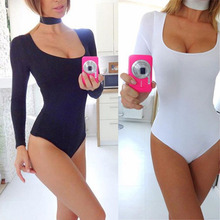 2017 Hot Sexy White Bodysuit Women Romper Playsuit Bodycon Elastic Cotton Long Sleeve Top Skinny One Piece Jumpsuits neckband
