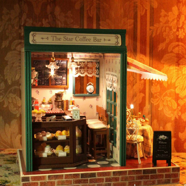 Ручной DIY деревянные кафе дом игрушки, деревянные соберите комплект игрушки
