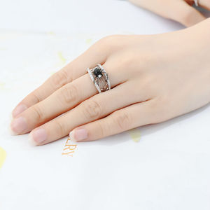 Image 5 - SANTUZZA bague en argent pour les femmes véritable 925 en argent Sterling anneaux uniques délicat noir araignée anneau à la mode fête bijoux de mode