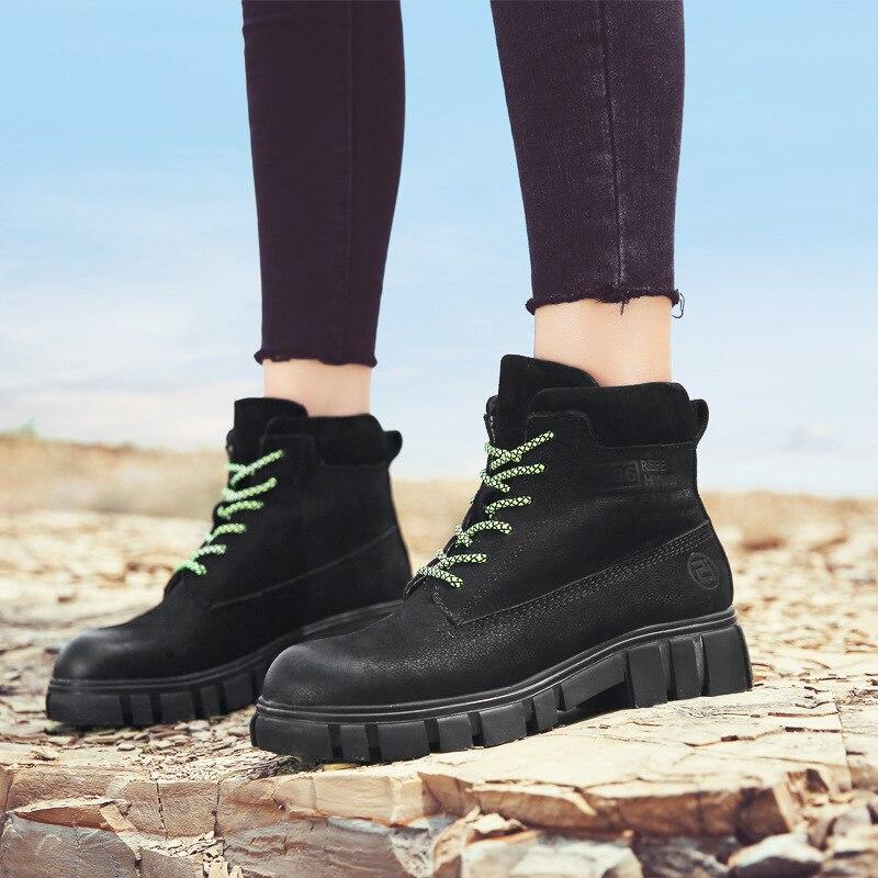 2019 automne hiver Chelsea bottes en cuir véritable femmes bottines à lacets militaires désert bottes Botas Feminina