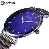 GEEKTHINK Brand Ultra Slim Top Thin Quartz Watch Men Casual Business Watch JAPAN Analog Men Relogio