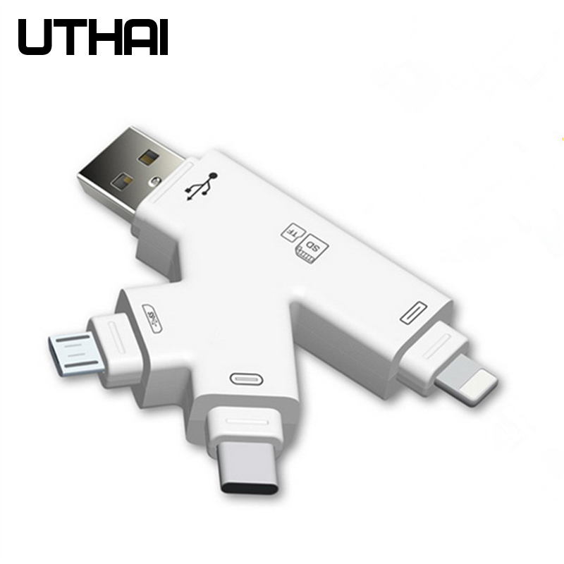 UTHAI C30 USBC Lightning Multi Card Reader 4in1 Type-c/Lightning/MicroUSB/USB Adapter For IPhone 7 8 X Plus TF/SD Card Reader