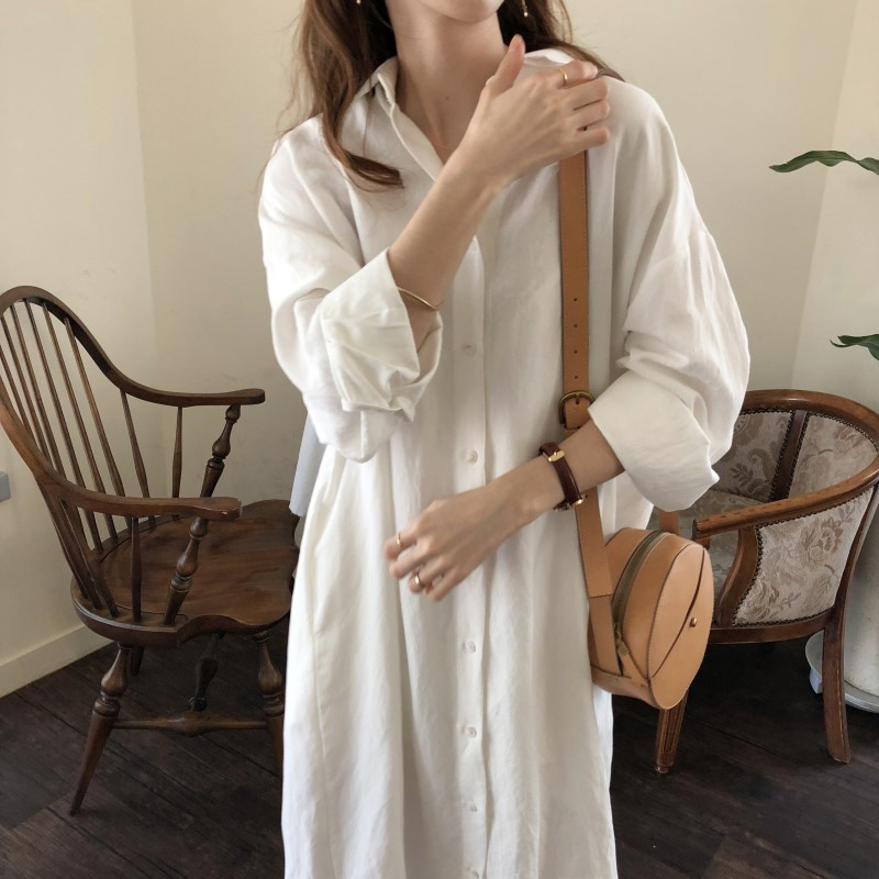 Blue Long Sleeve Long Shirt Dress Spring Casual Patchwork White cotton Dresses Collar Buttons Loose Dresses Robe Femme Vestido 17