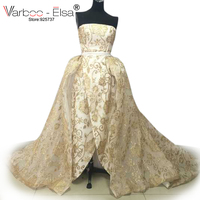 VARBOO_ELSA 2017 Sexy Strapless Avondjurken Luxe Gold Sequin Prom Jurk Lange Trein Party Gown Real Photo vestido de festa