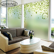 Green leaf curtain office shift door bathroom kitchen without glue electrostatic glass film stickers window paper цена и фото