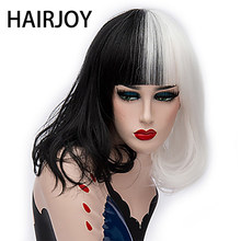 HAIRJOY-Peluca de cabello sintético para mujer, pelo liso y mediano, Color blanco y negro, 4 colores disponibles
