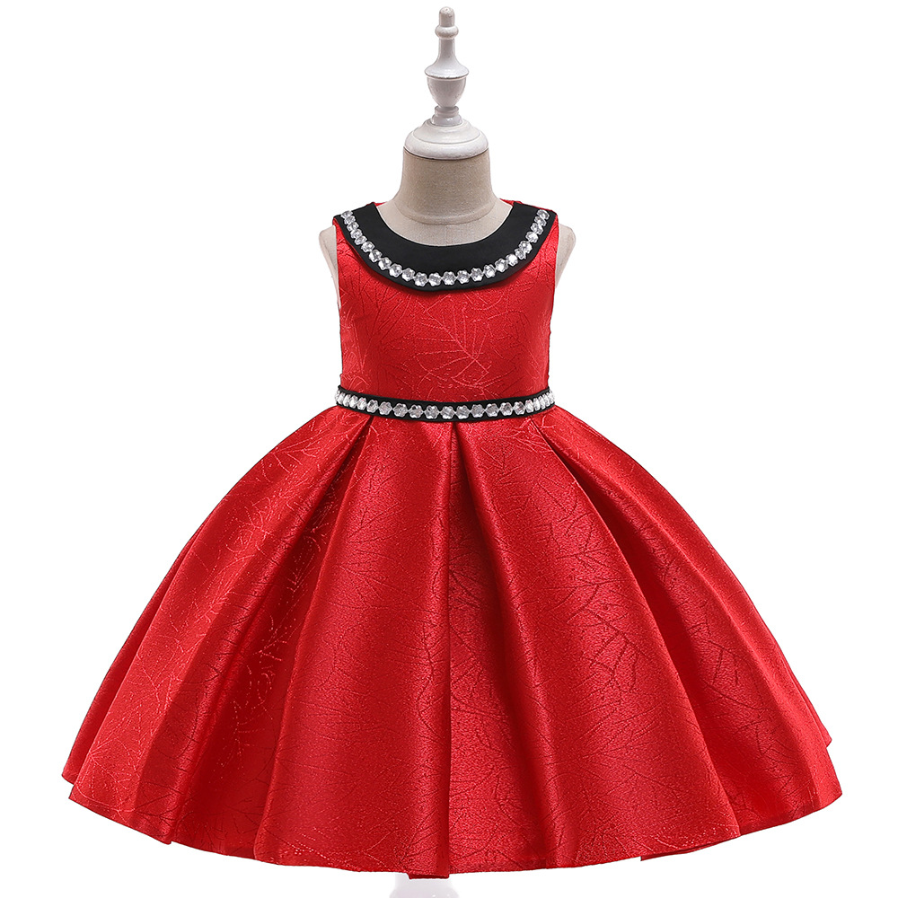 New Princess Pageant Kids Prom   Dress   Satin A-Line Communion Gown Birthday Party   Dress   2019 with Crystals