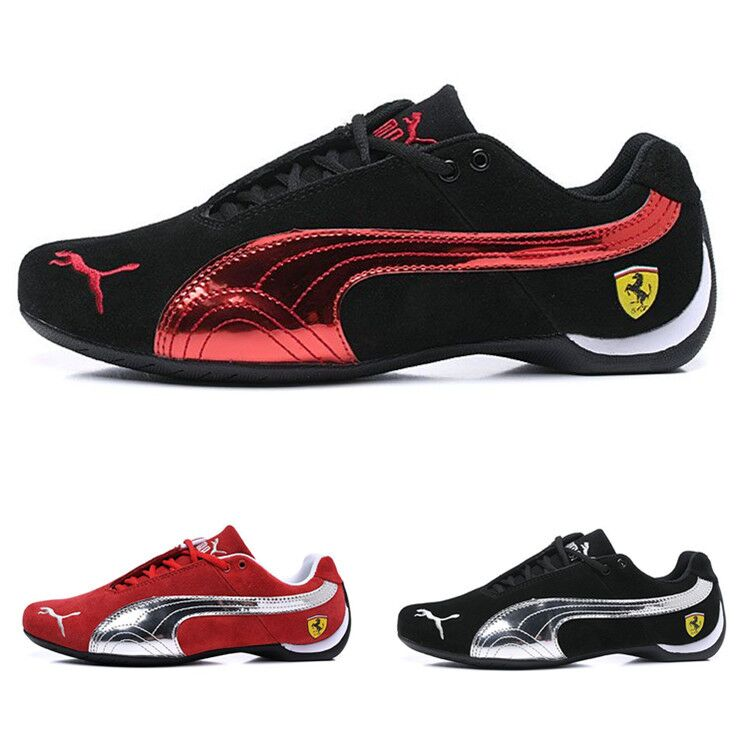 c071250af0a5 2019 New Arrival Puma Future Cat Leather SF Racer Racing Driving Shoes Lace- up Breathable Sport Badminton Shoes Black Red 39-40