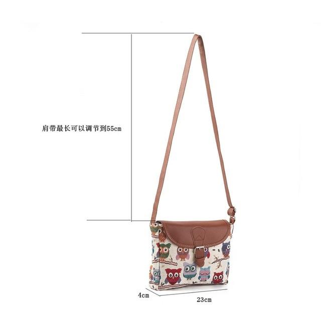 Women Messenger Bags Canvas Owl Animal Printed Crossbody Shoulder Bag Small Ladies Handbags Flap Bag For Girls High Quality 5