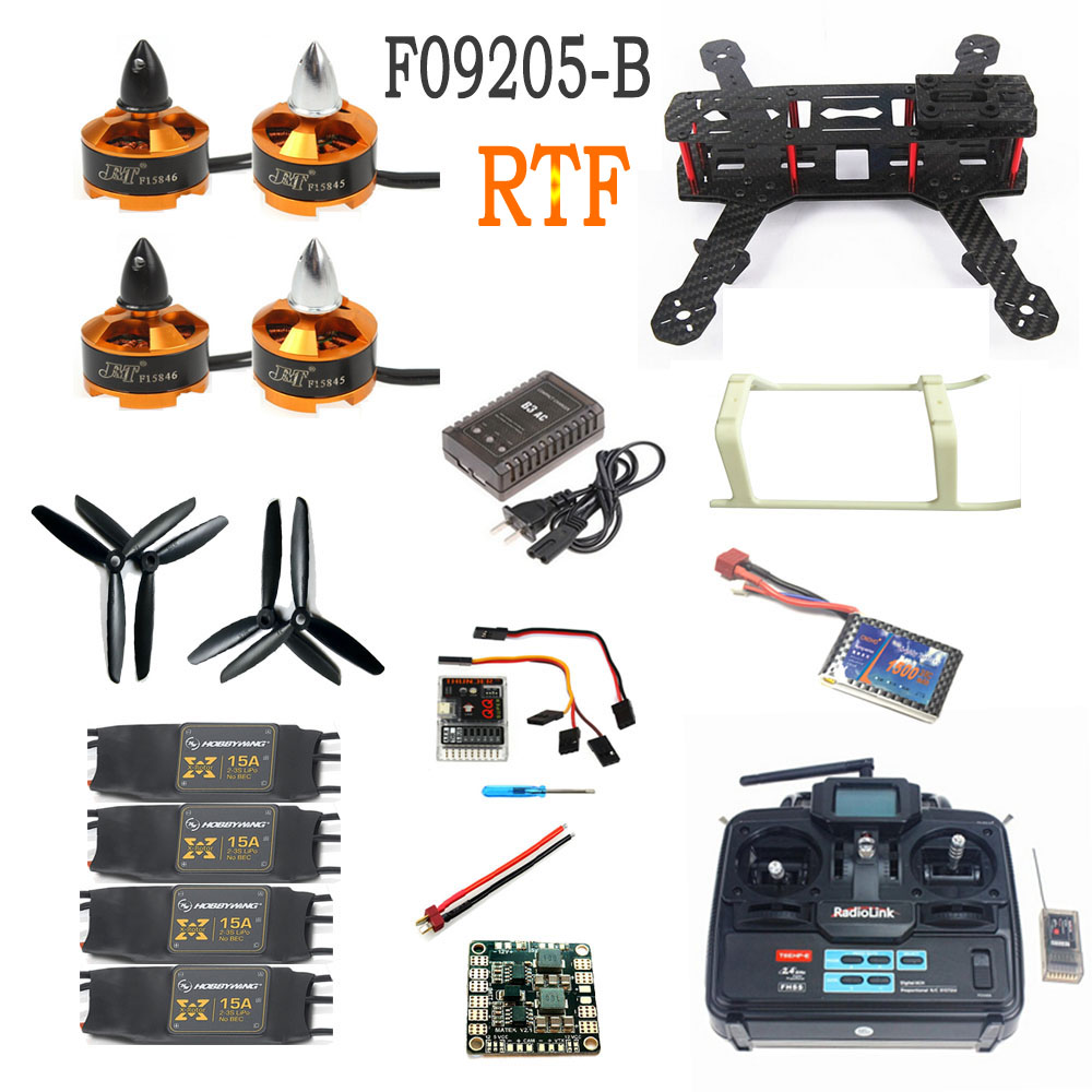 Mini 250 Carbon Fiber Aircraft Frame RTF Kit with Radiolink T6EHP E TX RX Battery Charger