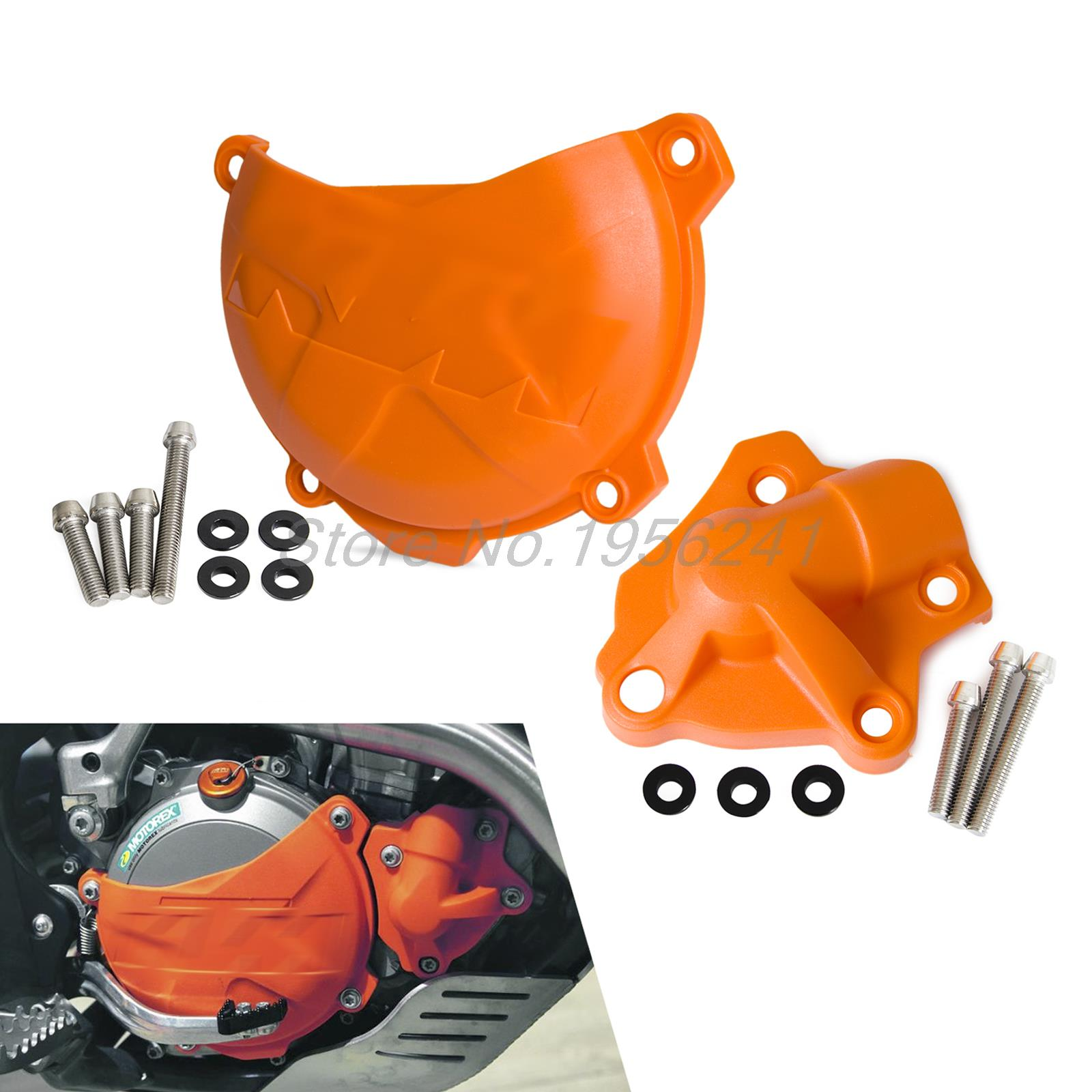 Clutch Cover/Water Pump Cover Protector for KTM 250 350 SXF SX-F XCF XC-F EXC-F EXCF SIX DAYS XCF-W XCFW FREERIDE orange cnc billet factory oil filter cover for ktm sx exc xc f xcf w 250 400 450 520 525 540 950 990