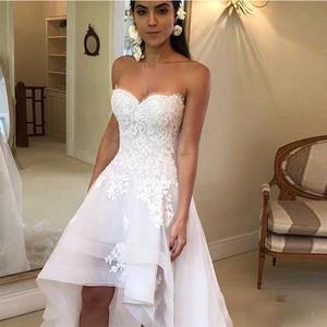 Image 5 - 2020 Modest Beach Wedding Dresses Sweetheart Appliques High Low Country Wedding Dress Bridal Gown Robe Mariage Vestido de Novia