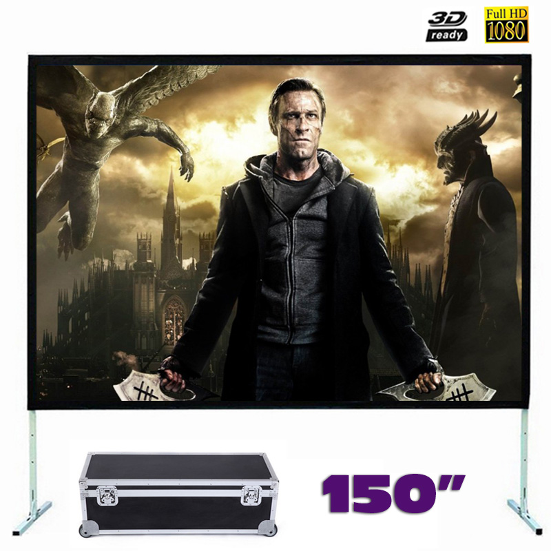 150 inches Fast Fold Projector Screen Quick Folding Projection Screens for Outdoor Concerts Exhibitions Cinema 4:3/16:9 optional new hd 150 inch projector screen 4 3 fast fold front projection screens with strong frame portable carry case for outdoor page 2