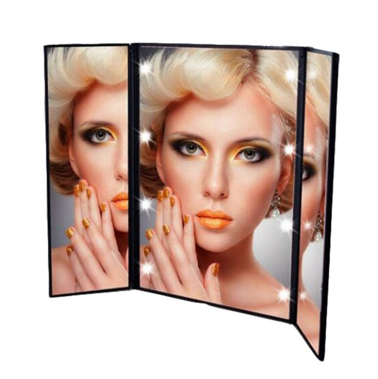 Industrious New Tri-fold Mirror Led Vanity With Light Heart-shaped 8 Lamp Princess Hot With Mirror Three-sided Folding Discounts Price Skin Care Tools