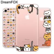 ФОТО dreamfox l513 cute cat soft tpu silicone  case cover for apple iphone 8 x 7 6 6s plus 5 5s se 5c 4 4s