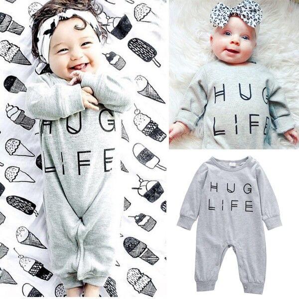 d96fb7f73 Bebé recién nacido Niños Niñas ropa gris Mamelucos trajes Hug vida letra  jumpsuit playsuit ropa de bebé