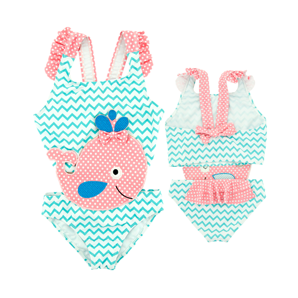 2019 Summer 12M-6T Kids Girls Swimwear Blue Striped Baby Swimming Suit Biquini Infantil Swimsuit Falbala Bikini Girl Swimwear