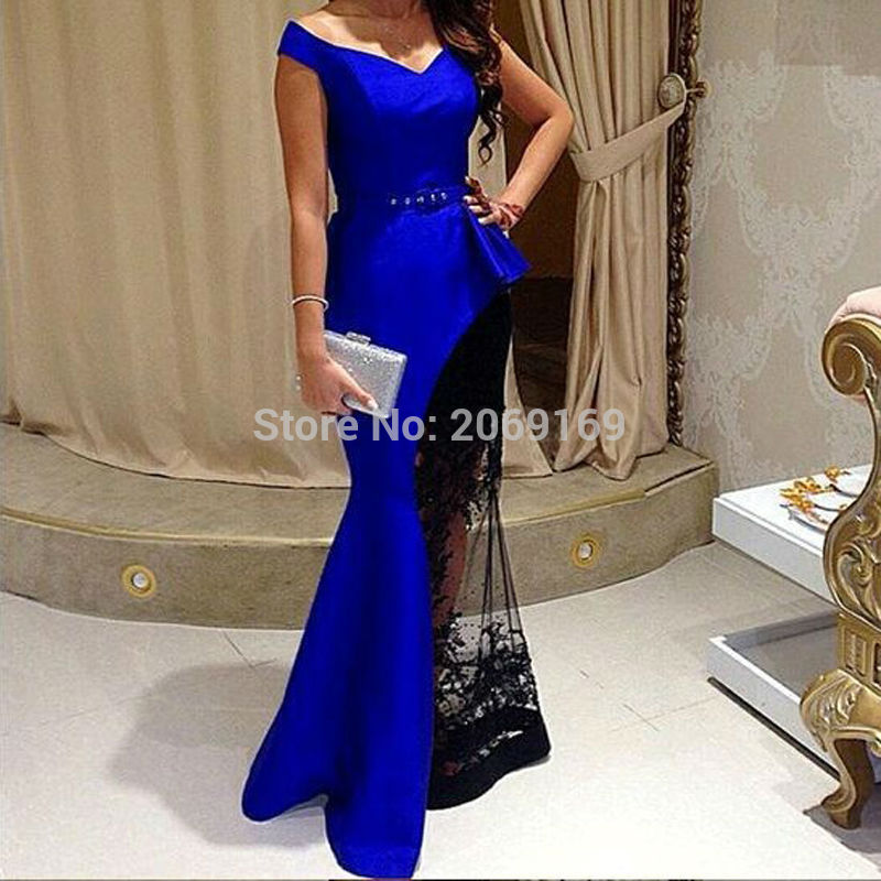 New Fashion Azul Royal Vestidos De Festa V Neck Stain With Black Lace Elegant Evening Gown Dresses For Wedding Guests