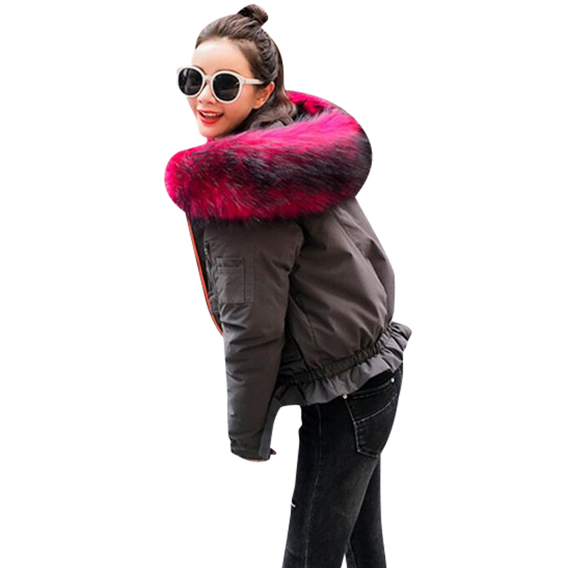 2017 Winter Women's Coat New Down Jacket Short Han Edition Casual Military Workers Large Hair Collar Fashionable Cotton Clothes фурминатор для собак короткошерстных пород furminator short hair large dog
