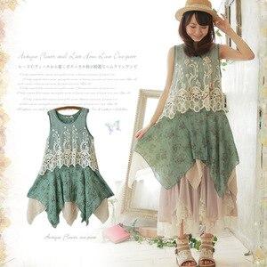 Платье в стиле Лолиты, кружевное, без рукавов, с цветочным принтом, A019