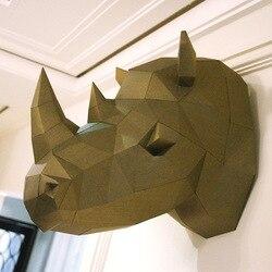 Modelo de papel 3d rinoceronte cabeça de rinoceronte papercraft animal decoração para casa parede quebra-cabeças educativos brinquedos diy presente para crianças