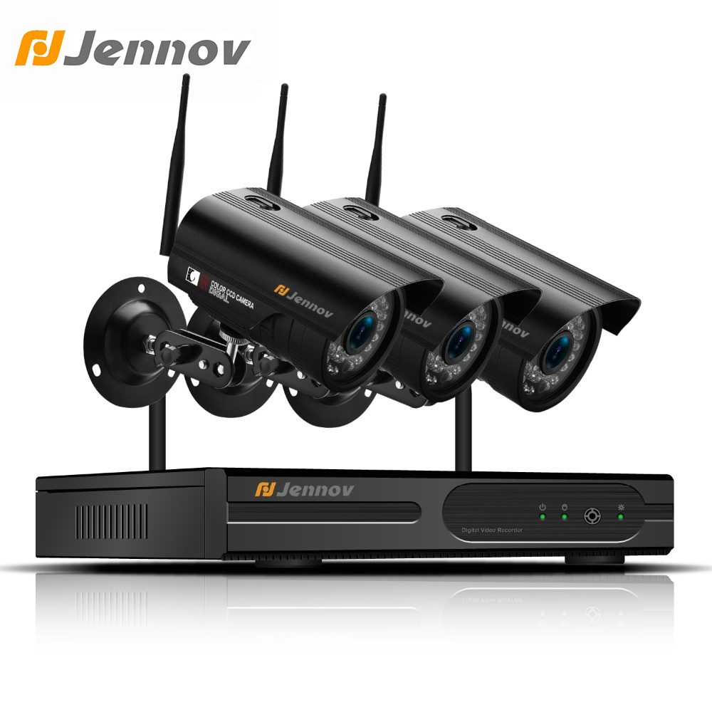Jennov 4CH 2MP HD 1080P Wireless Security Camera System Video Surveillance WiFi NVR Kit CCTV Set P2P IP Network Waterproof 4ch wireless nvr kit 13 lcd monitor screen waterproof 1080p 2mp security cctv ip camera wifi p2p video surveillance system set