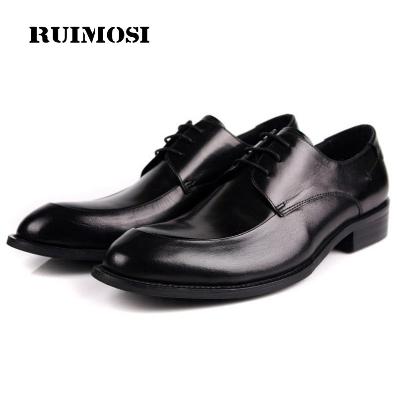 RUIMOSI Formal Man Derby Dress Shoes Genuine Leather Designer Oxfords Luxury Brand Comfortable Men's Handmade Footwear HD23
