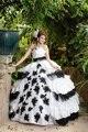 Vestidos De 15 Años Preto E Branco Quinceanera Vestidos Strapless vestido de Baile Vestido de Renda para 15 Anos Vestidos Quinceanera 2017