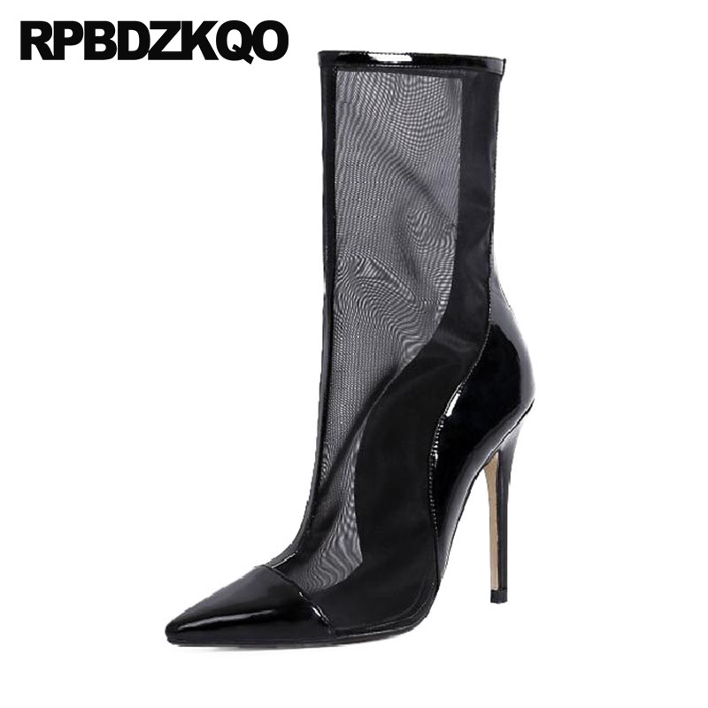 Pointed Toe Ankle Boots Fashion Patent Leather High Heel Stiletto Black Ladies Designer Shoes Women Luxury 2018 Mesh Sandals kjstyrka 2018 brand designer women mules pointed toe ladies shoes med heel sandals black red lattice fashion girls shoes