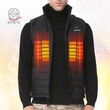 ORORO Mens Heated Vest Electric Battery Up to 8h Warm Coat Sleevless Jacket Black Windbreak Waterproof Fleece Streetwear Winter