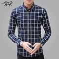 Осень Формальные Рубашки Мужчины С Длинным Рукавом Мужская Рубашки Платья Хлопка мужской Случайные Белый Клетчатую Рубашку Плюс Размер 5XL Camisa Masculina Homme