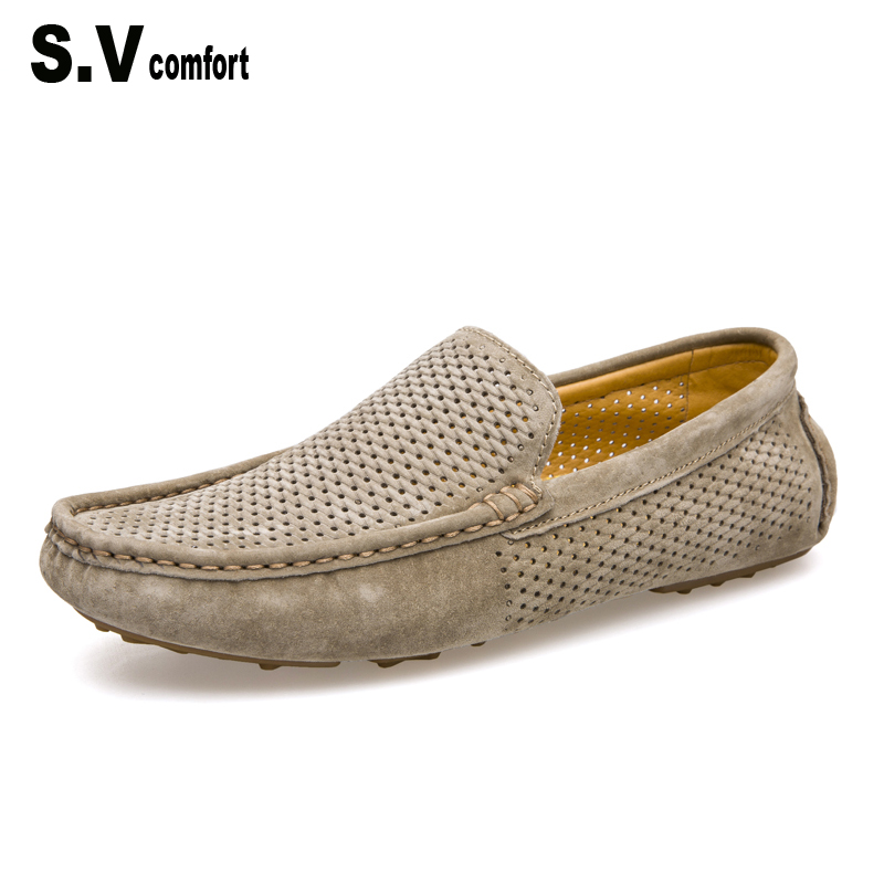 Men Loafers 2017 Casual Boat Shoes Fashion Genuine Leather Slip On Driving Shoes Moccasins Hollow Out Men Flats Gommino SV Brand handmade genuine leather men s flats casual haap sun brand men loafers comfortable soft driving shoes slip on leather moccasins