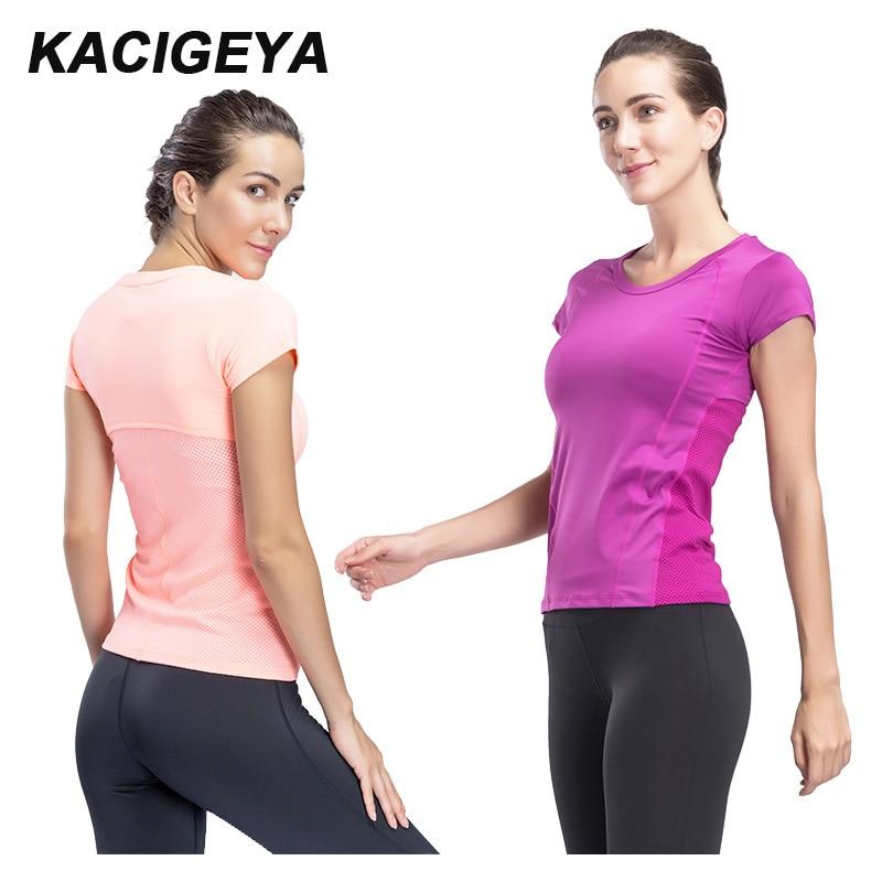 Gym T Shirt Women Quick Dry Running Cycling Yoga T Shirts Women Breathable Short Sleeve Sport Women Fitness Tops 2018