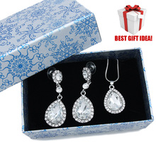 2016 New Ladies Jewelry Fashion Jewellery Sets with GIFT BOX red rhinestone bridal jewelry sets wedding accessories bride nkem65