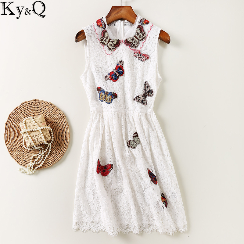 Ky&Q 2017 Fashion Autumn Winte Women's Sweet Casual Lace Dress Butterfly Embroidery Sleeveless Party Midr Dresses Vestidos Tunic