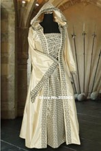 Elegant Beige Ladies Deluxe Quality Medieval Renaissance Hooded Costume/Cosplay Dress/Victorian Dress/Stage Costume
