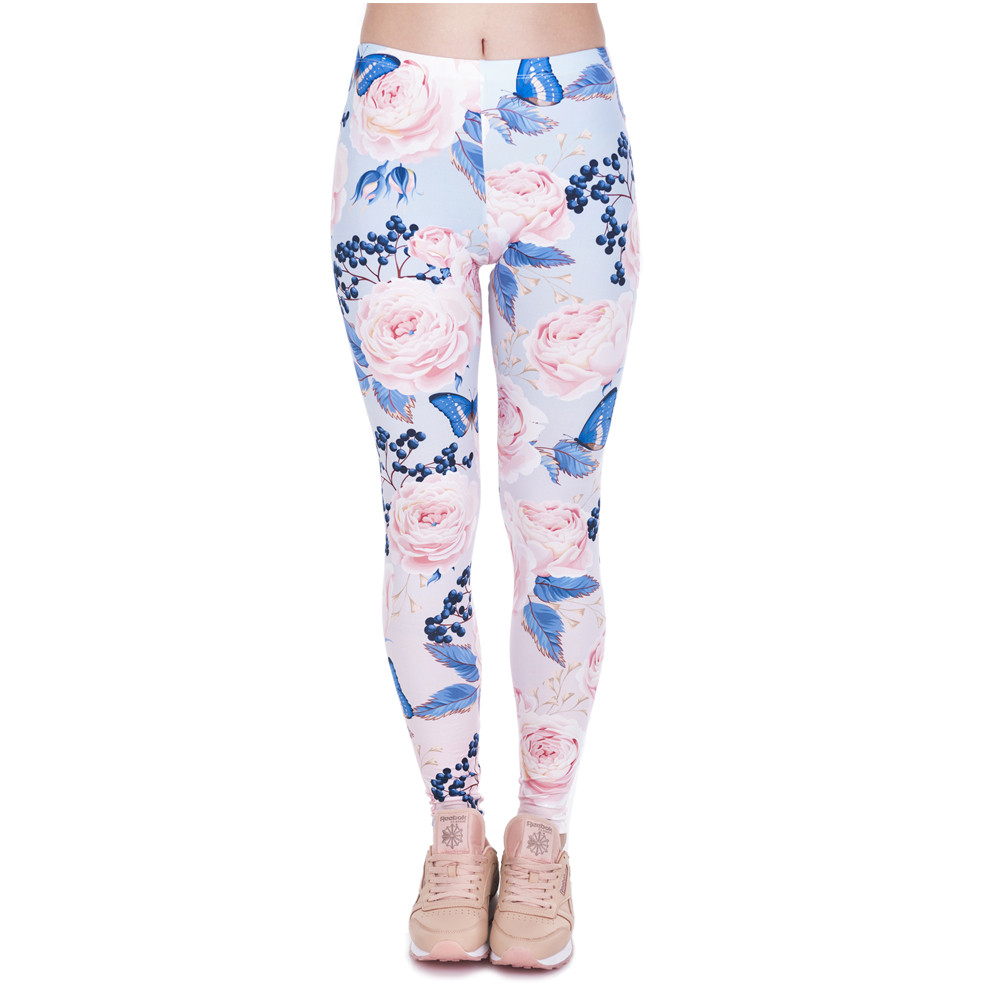 New Design Women Legins Roses With Butterfly Printing Elegant   Legging   Woman Light Pink High Waist   Leggings