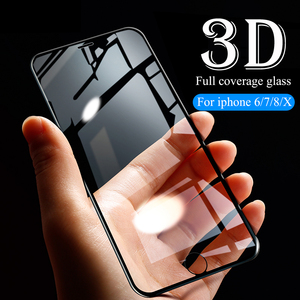 Image 3 - 3D Full Cover protective Glass For iPhone 6 6s 7 8 Plus X glass flim iPhone XS Max XR screen protector tempered glass on iPhone7